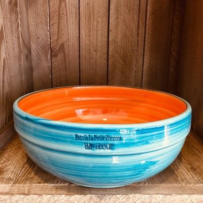 La petite Provence-Salatschale-gross-orange-blau-25cm