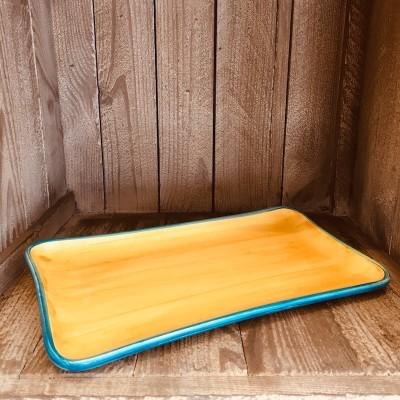 La petite Provence-Servierplatte-gelb-blau-28x14cm