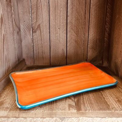 La petite Provence-Servierplatte-orange blau-28x14cm