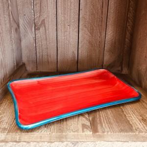 La petite Provence-Servierplatte-rot-blau-28x14cm