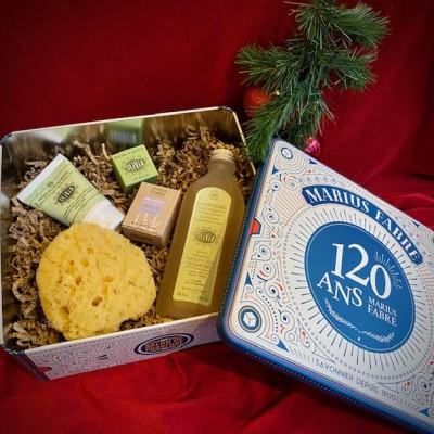M. Fabre-Jubiläumsbox aus Metall mit Bio-Kosmetik.Weihnachten.23x21,5x9,10cm.1