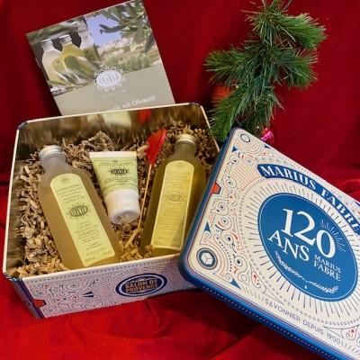 M. Fabre-Jubiläumsbox aus Metall mit Bio-Kosmetik.Weihnachten.23x21,5x9,10cm.2