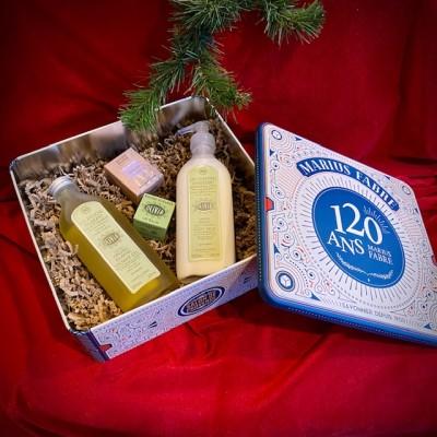 M. Fabre-Jubiläumsbox aus Metall mit Bio-Kosmetik.Weihnachten.23x21,5x9,10cm.3