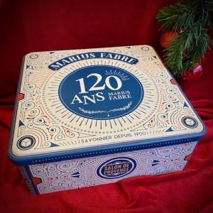 M. Fabre-Jubiläumsbox aus Metall mit Bio-Kosmetik.Weihnachten.23x21,5x9,10cm.4