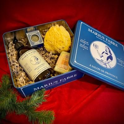 M. Fabre-Seifenbox aus Metall mit festen und flüssigen Olivenölseifen - ohne Palmöl.Weihnachten2020.2