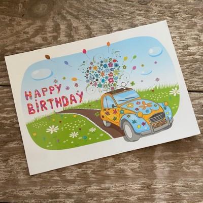 Postkarte Geburtstagskarte Ente 2cv