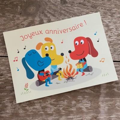 Postkarte-Hunde am Lagerfeuer