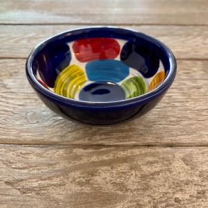 Poterie Ventoux-Mini-Schale-blaue rechtecke