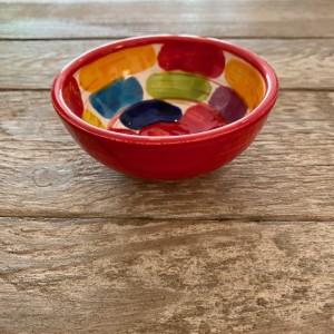 Poterie Ventoux-Mini-Schale-rote rechtecke