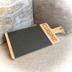 Servierplatte Cuisine, Holz und Schiefer, La Trinitaine, 33x15x1cm
