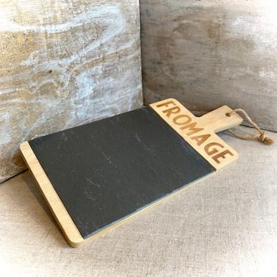 Servierplatte Fromage, Holz und Schiefer, La Trinitaine, 33x15x1cm
