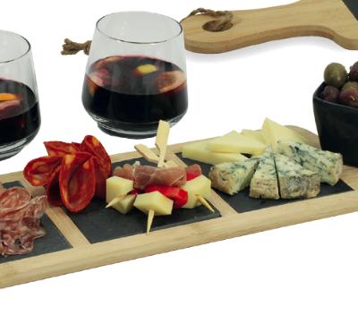 Servierplatte Holz+Schiefer